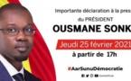 revivez la déclaration d'Ousmane Sonko